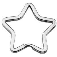 Edelstahl Schlüsselring Stern, silberfarben, 34 x 35 x 3 mm, Innendurchmesser: 30 x 24 mm
