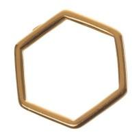 Metallanhänger Hexagon, 14 x 16 mm, vergoldet