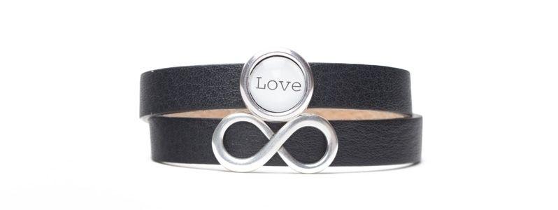 Milano-Armband mit Infinity Slider Schwarz