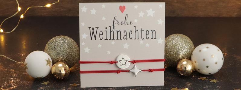 """Weihnachtsarmbänder """"Frohe Weihnachten"""" Sterne"""
