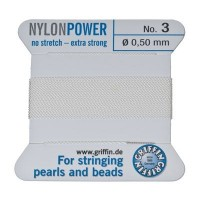 Perlseide, Nylon Power, 0,50 mm, weiß, 2 m