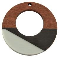 Anhänger aus Holz und Resin, Ring, 38,0 x 3,5 mm, Öse 2,0 mm, tricolor
