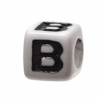 Kunststoffperle Buchstabe B, Würfel, 7 x 7 mm, weiß mit schwarzer Schrift