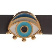 Metallperle Slider Auge vergoldet, ca. 40 x 20 mm, Durchmesser Fädelöffnung:  10,2 x 2,3 mm