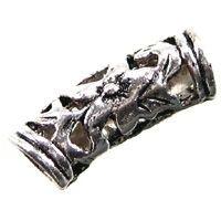 8 Metallperlen Röhre, 21  x 7  mm, silberfarben