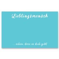 """Schmuckkarte """"Lieblingsmensch"""", quer, türkisblau Größe 8,5 x 5,5 cm"""