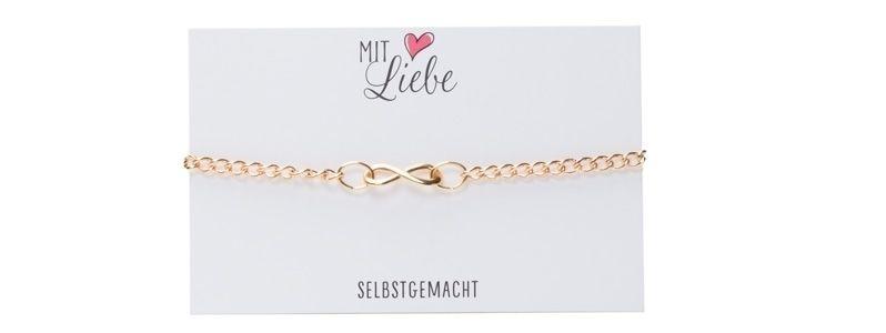 Glücks-Armband mit Infinity-Zeichen Vergoldet Klein