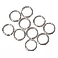 Spaltringe, Durchmesser ca.  7 mm, versilbert, 10 Stück