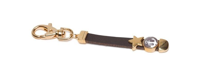 Schlüsselanhänger Lederband Stern Vergoldet