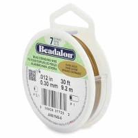 Beadalon 7 Strand Edelstahl Bead Stringing Wire (Schmuckdraht), 0,012 in (0,30 mm), Farbe: Satin Gol