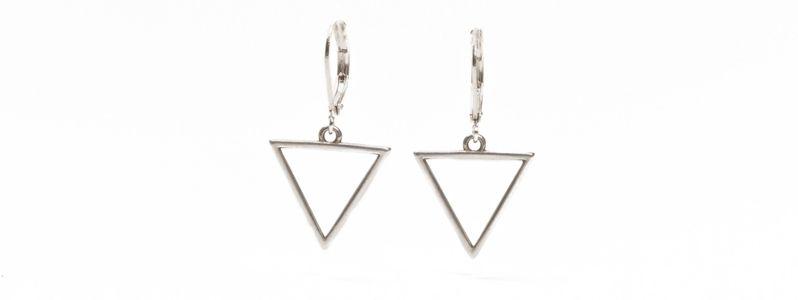 Geometrics-Ohrhänger Großes Dreieck Versilbert