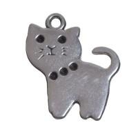Metallanhänger, Katze, 20 x18 mm, versilbert