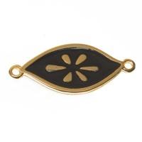 Metallanhänger / Armbandverbinder Oval Boho, vergoldet, emailliert, ca. 27 x 12 mm