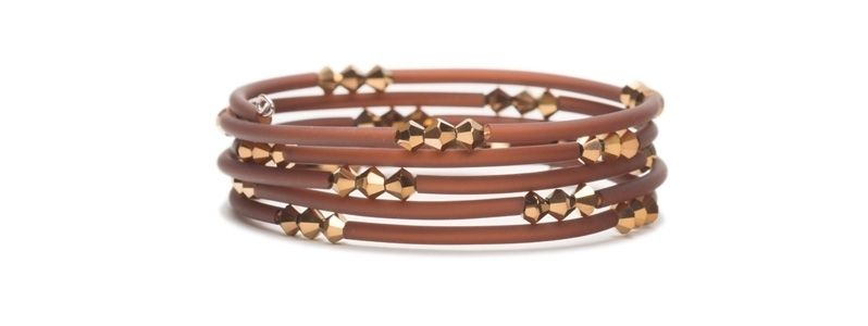 Memory Wire Armreif mit Glasfacettbicone Rose Gold