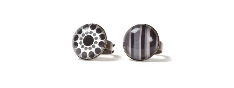 Boho-Ringe mit Glascabochons Schwarz