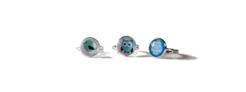 Cabochon Ringe Blauer Mix
