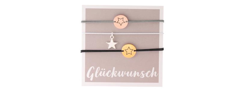 "Set Armbänder mit Coins ""Glückwunsch"""