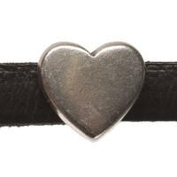Metallperle Mini-Slider Herz, versilbert, ca. 9 x 8,5 mm