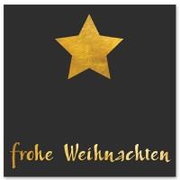 """Schmuckkarte """"Frohe Weihnachten"""", schwarz mit Stern, quadratisch, Größe 8,5 x 8,5 cm"""