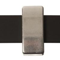 Metallperle Slider Viereck, versilbert, ca. 7 x 13 mm