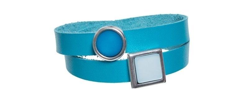 Leder-Armband mit Sliderperlen doppelt Türkis