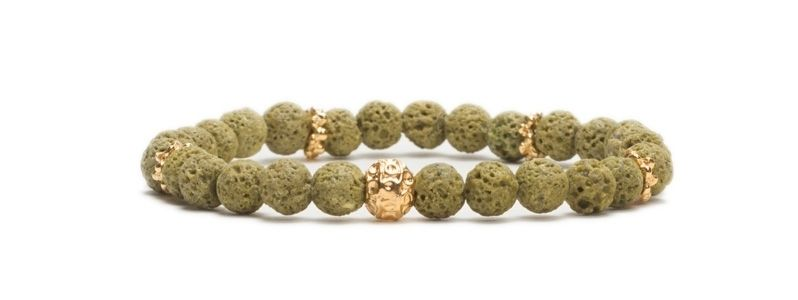 Armband bunte Lava Olivgrün