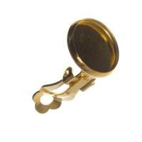 Ohrclip mit Fassungen für Cabochon, rund 12 mm, goldfarben