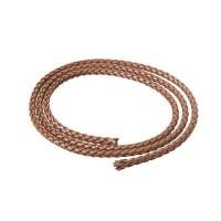 Geflochtenes Lederband, 5 mm, braun, Länge 1 m
