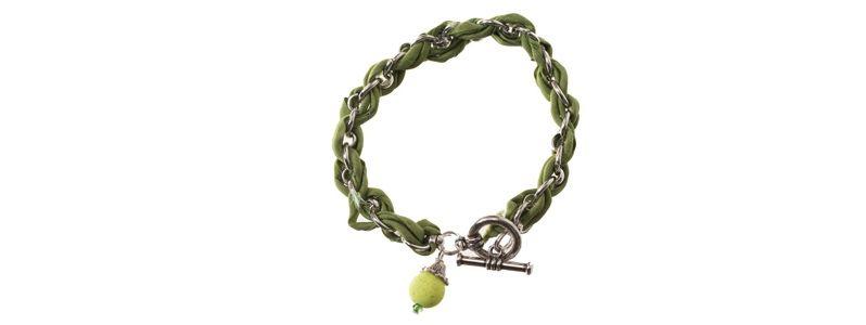 Geflochtenes Seidenarmband Grün