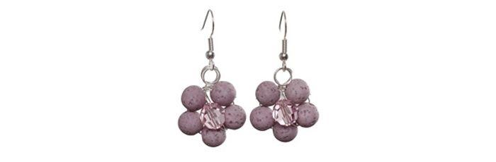 Süße Blumenohrringe Cyclamen Opal