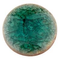 Keramikcabochon, Rund, blaugrün, Durchmesser 20, Höhe 3 mm