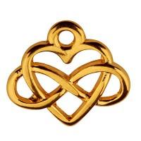 Metallanhänger Herz und Infinity, 15 x 12 mm, vergoldet