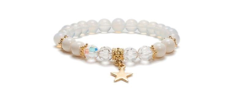 Armband mit Edelsteinen Opal Weiß