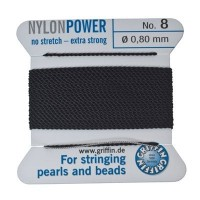 Perlseide, Nylon Power, 0,80 mm, schwarz, 2 m