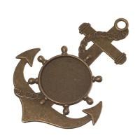 Anhänger für Cabochons Anker, rund 20 mm, bronzefarben