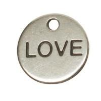 """Metallanhänger Rund, Schriftzug """"Love"""", 9 mm, versilbert"""