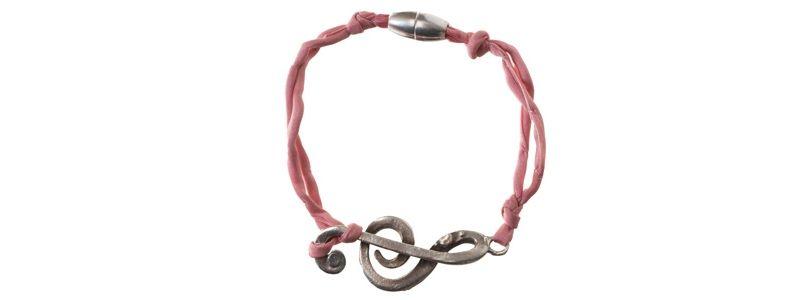 Seiden-Armband Rose Notenschlüssel