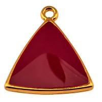 Metallanhänger Dreieck, vergoldet und bordeuax emailliert