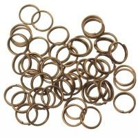 Spaltringe, 8 mm, doppelt gebogen, bronzefarben, 10 Gramm (ca. 75 Stück)