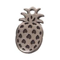 Metallanhänger Ananas, Durchmesser 11 x 20 mm, versilbert