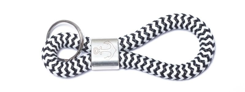 Schlüsselanhänger aus Segelseil Anker Schwarz-Weiß