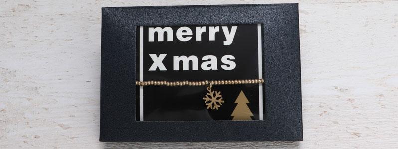Weihnachtarmband Schneeflocke mit Geschenkverpackung schwarz