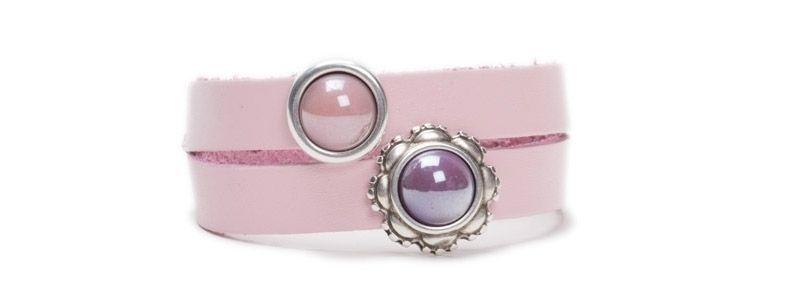 Pearlized Glascabochon Armband Rosa