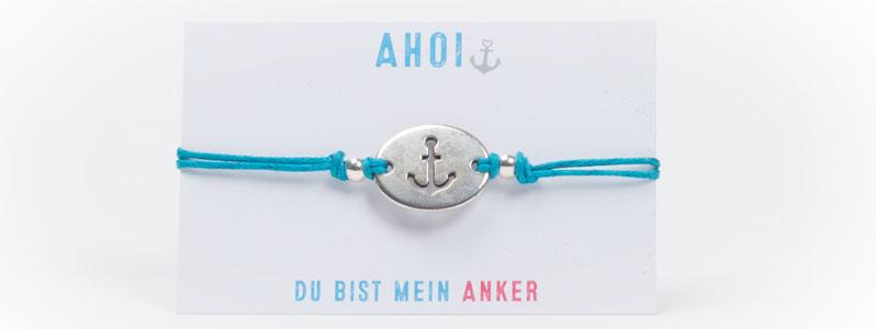 Anker-Baumwollarmband Türkisblau-Silber