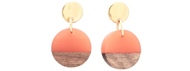 Ohrringe mit Holz-Resin-Anhängern Scheibe klein