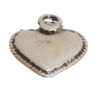 Metallanhänger Herz, ca. 16 mm, versilbert