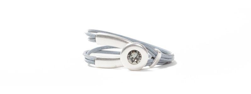 Armband Metall & Leder Chaton Grau