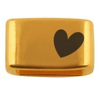 """Zwischenstück mit Gravur """"Herz"""", 14 x 8,5 mm, vergoldet, geeignet für 5 mm Segelseil"""
