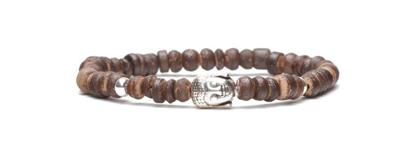 Armband Kokosscheiben Braun Buddha Silberfarben