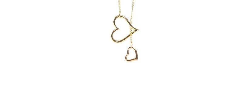 Feine goldene Halsketten Doppeltes Herz